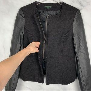 NWT For Cynthia Wool-Blend Leather Blazer Jacket L